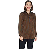 Susan Graver Stretch Charmeuse Button-Front Shirt - A344845