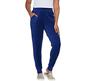 Denim & Co. Active Regular Velour Joggers with Zippers at Cuff - A345245