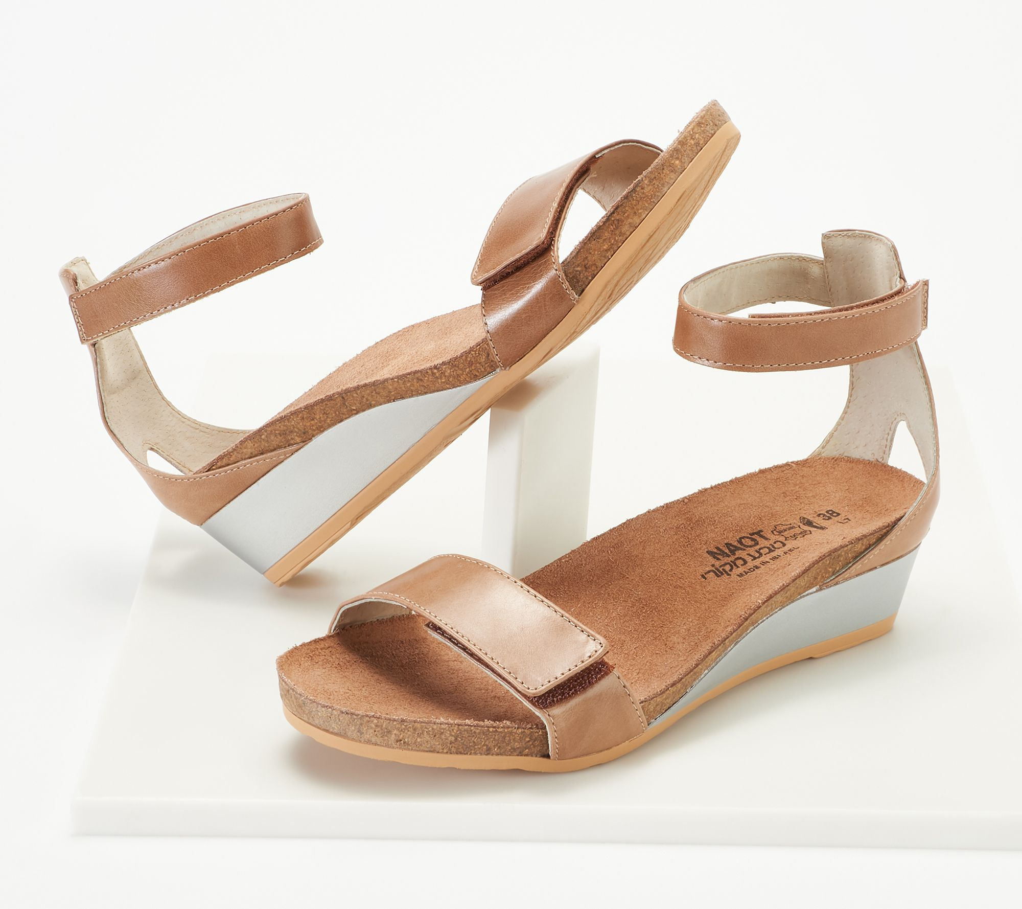 dc986d2509b Naot Leather Ankle Strap Wedge Sandals - Mermaid — QVC.com