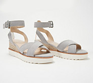 Marc Fisher Leather or Suede Cross Strap Wedges- Jovana - A352045