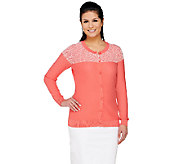 Liz Claiborne New York Honeycomb Stitch Long Sleeve Cardigan - A261246