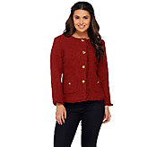 Joan Rivers Boucle Jacket w/ Self Fringe and Bracelet Sleeves - A268146