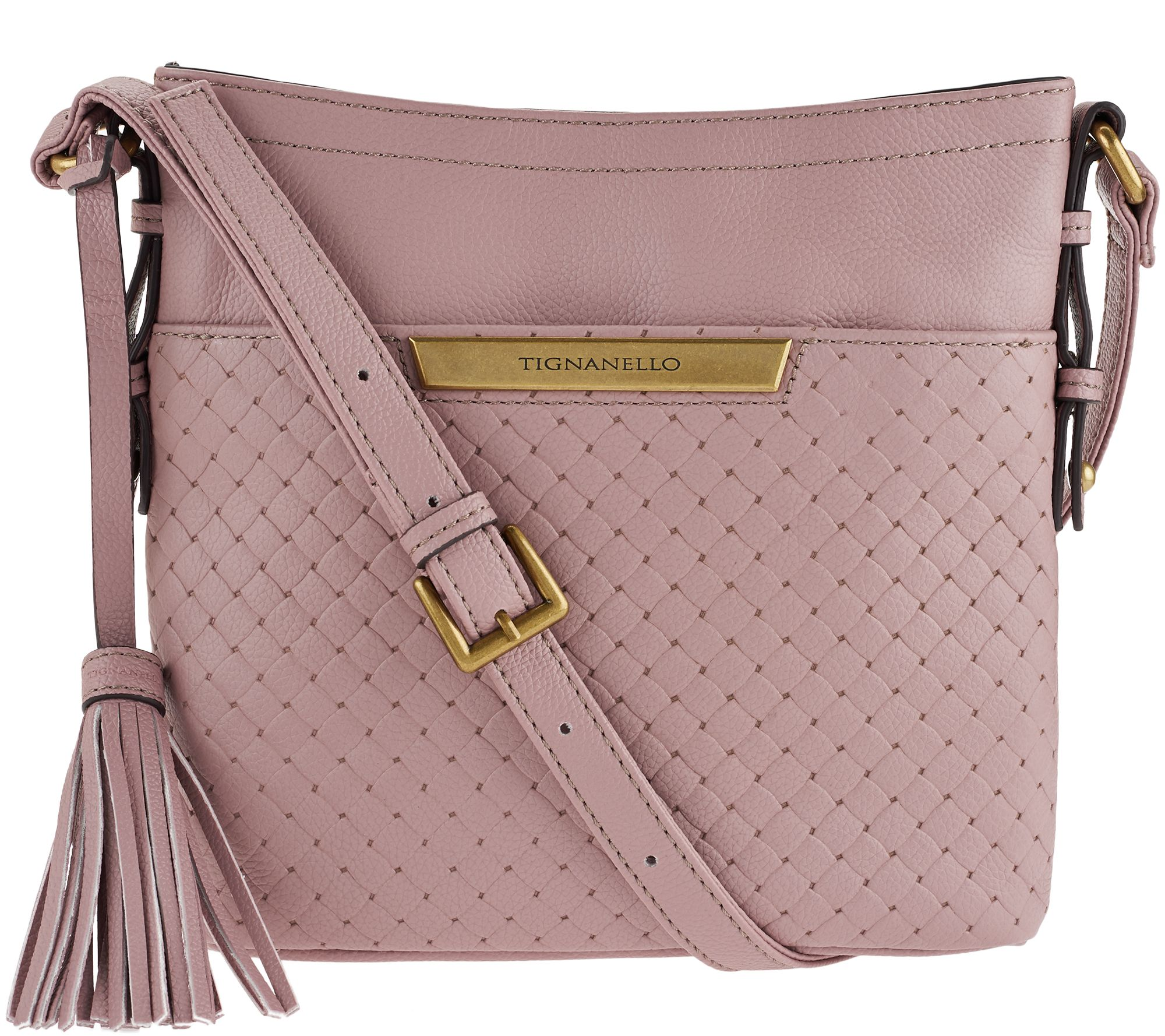 Tignanello Pebble Leather Embossed Weave Rfid Crossbody Bag Page 1 Qvc