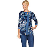 Susan Graver Printed Liquid Knit Tunic with Keyhole Trim - A281146
