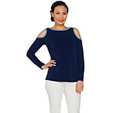 Susan Graver Liquid Knit Long Sleeve Cold Shoulder Top - A287646