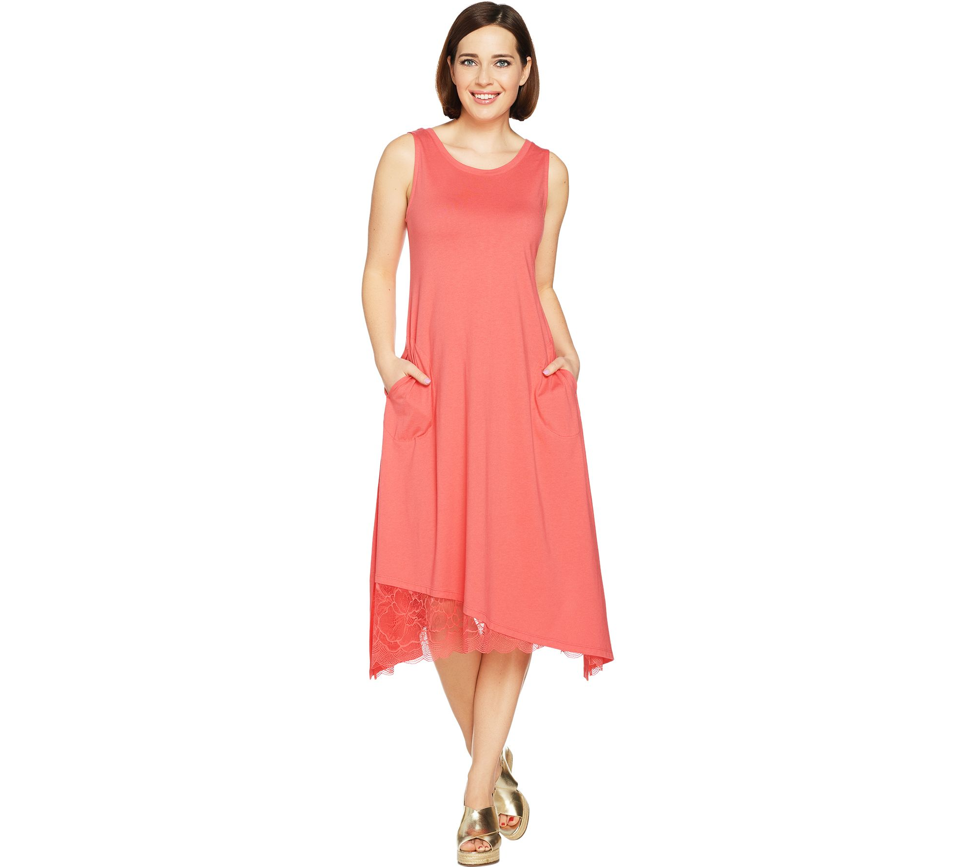 7ee63412a63 LOGO by Lori Goldstein Cotton Modal Knit Dress with Lace Hem - Page ...