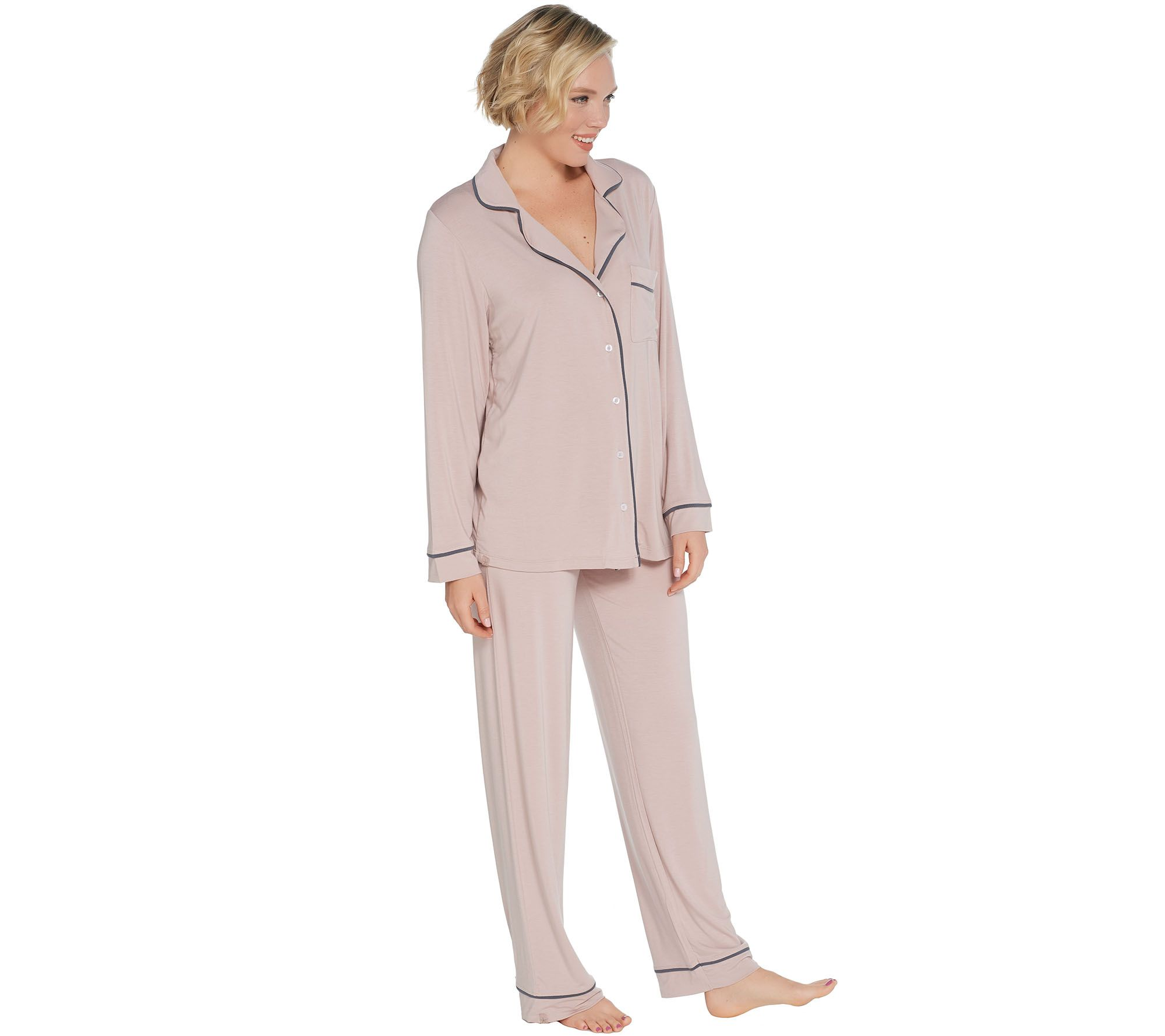 Barefoot Dreams Luxe Milk Jersey Piped Pajama Set - Page 1 — QVC.com b048300ed