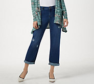 LOGO by Lori Goldstein Boyfriend Rip & Repair Ankle Jeans - A301246