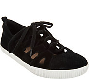 Earth Suede and Cut-Out Leather Lace-Up Sneaker - Mulberry - A303246