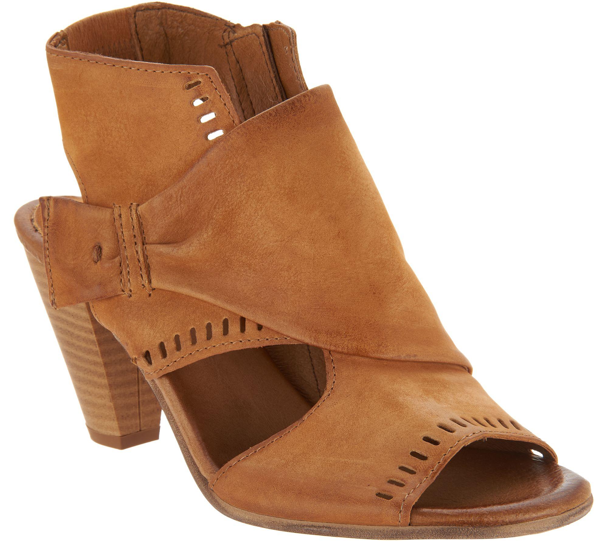 8ff77a86bd8 Miz Mooz Leather Peep-Toe Heeled Sandals - Moonlight - Page 1 — QVC.com