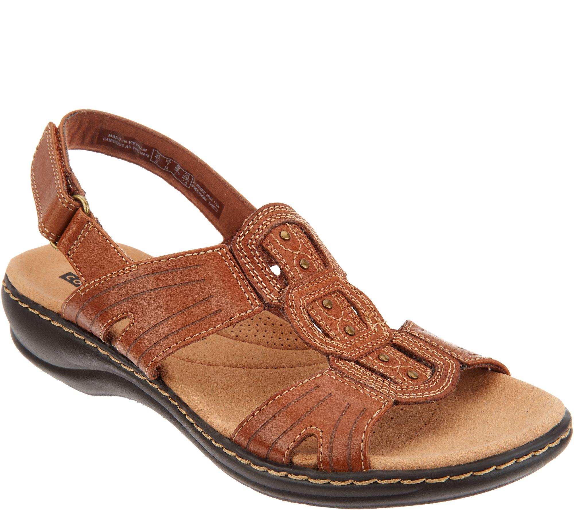 9d646b66237 Clarks Leather Lightweight Adjustable Sandals - Leisa Vine - Page 1 —  QVC.com