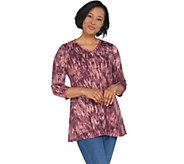 LOGO by Lori Goldstein Cotton Modal Printed Top w/ Embroidery - A307246