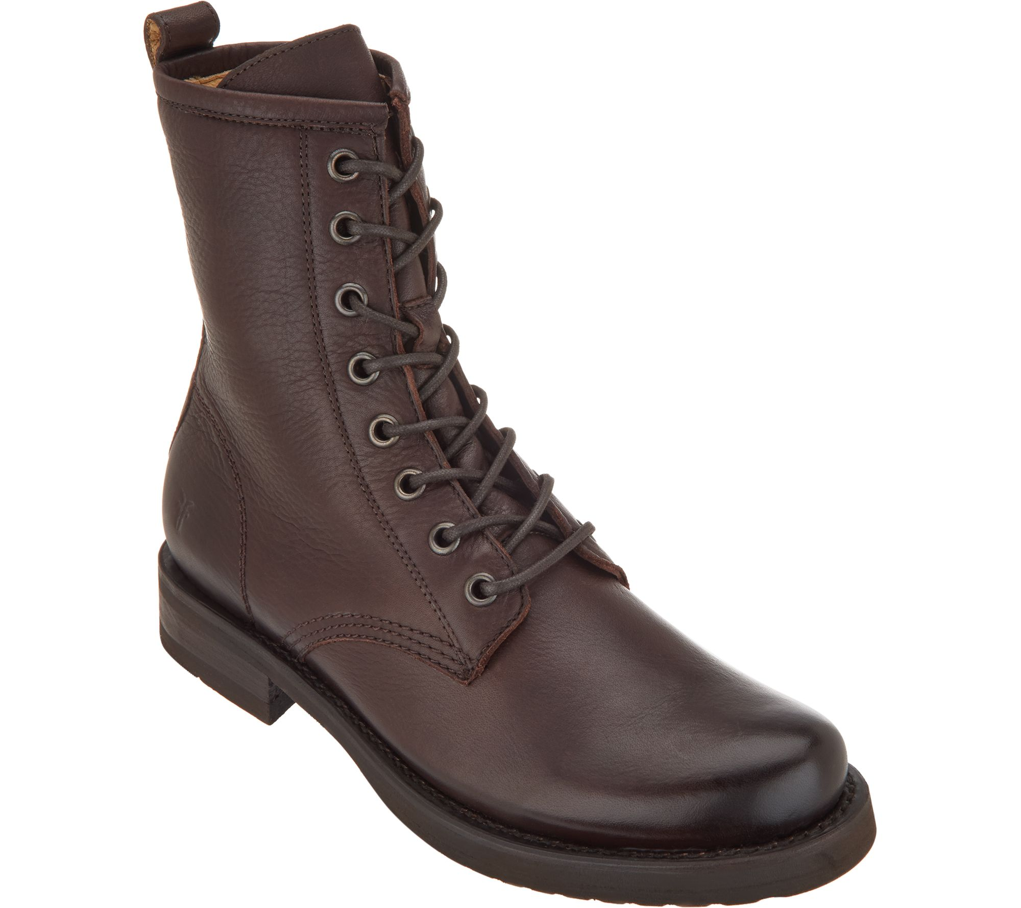1fadde5e1da Frye Leather Lace-up Boots - Veronica Combat — QVC.com