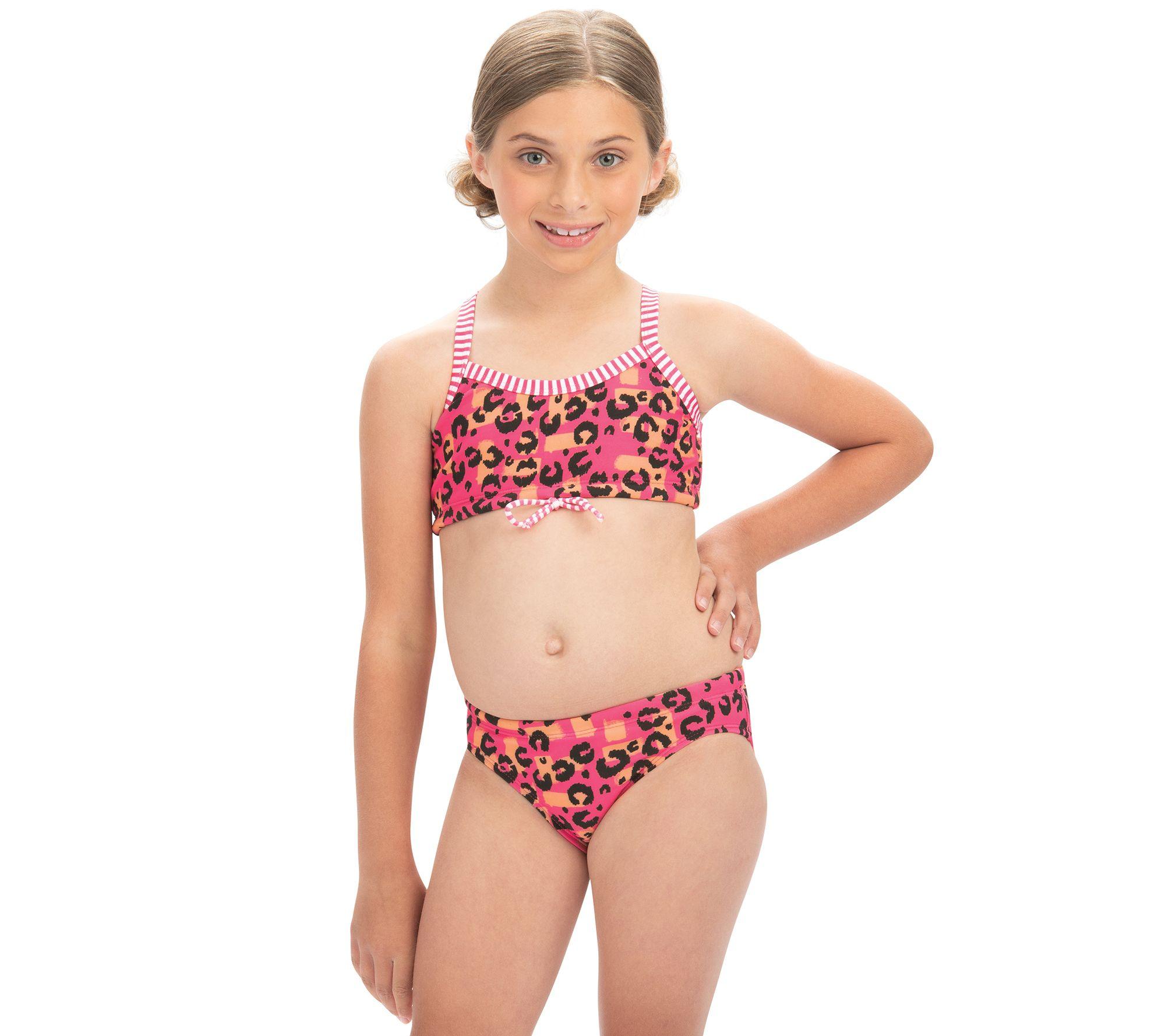 a701fb3fe09 Dolfin Uglies Girls Rawr Print 2-Piece Swimsuit — QVC.com