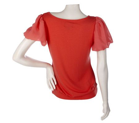 Elisabeth Hasselbeck For Dialogue Sheer Bubble Sleeve Top Page 1