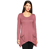 LOGO by Lori Goldstein Knit Top with Chiffon Back Inset & Pockets - A236447