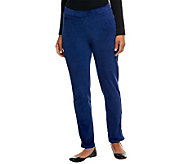 Susan Graver Knit Velour Ankle Pants w/ Hem Zipper Detail - A239447