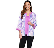 Bob Mackies Crepe de Chine Paradise Print Cardigan and Solid Tank Set - A265047