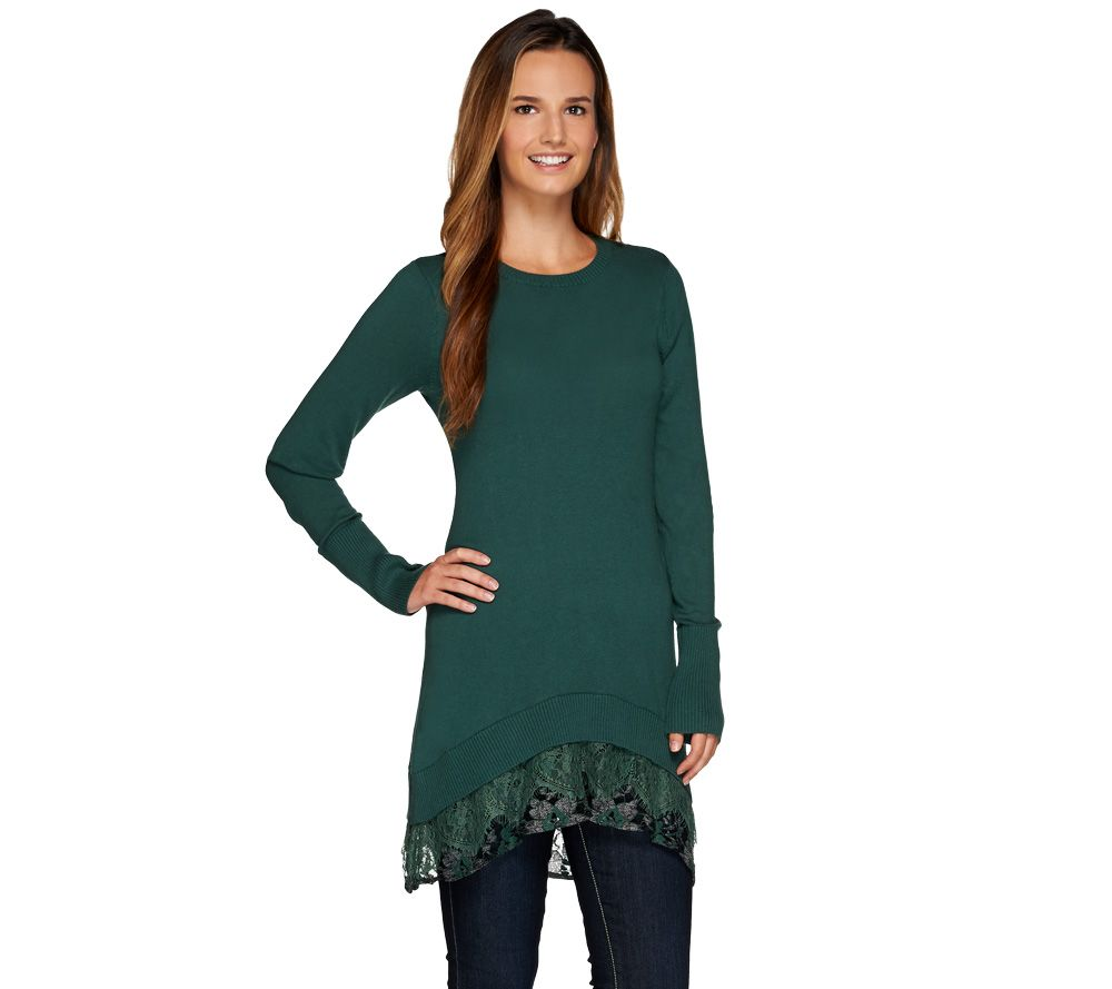 LOGO by Lori Goldstein Cotton Cashmere Sweater with Lace Trim - Page 1 —  QVC.com 7e71c2772