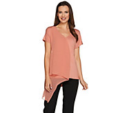 H by Halston Knit Top with Chiffon Cascade Front Overlay - A276847