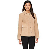 As Is Dennis Basso Washable Suede Shirt Collar Button Front Jacket - A277347