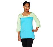 As Is Quacker Factory Sparkle & Shine Color- Block 3/4 Sleeve T-Shirt - A284947
