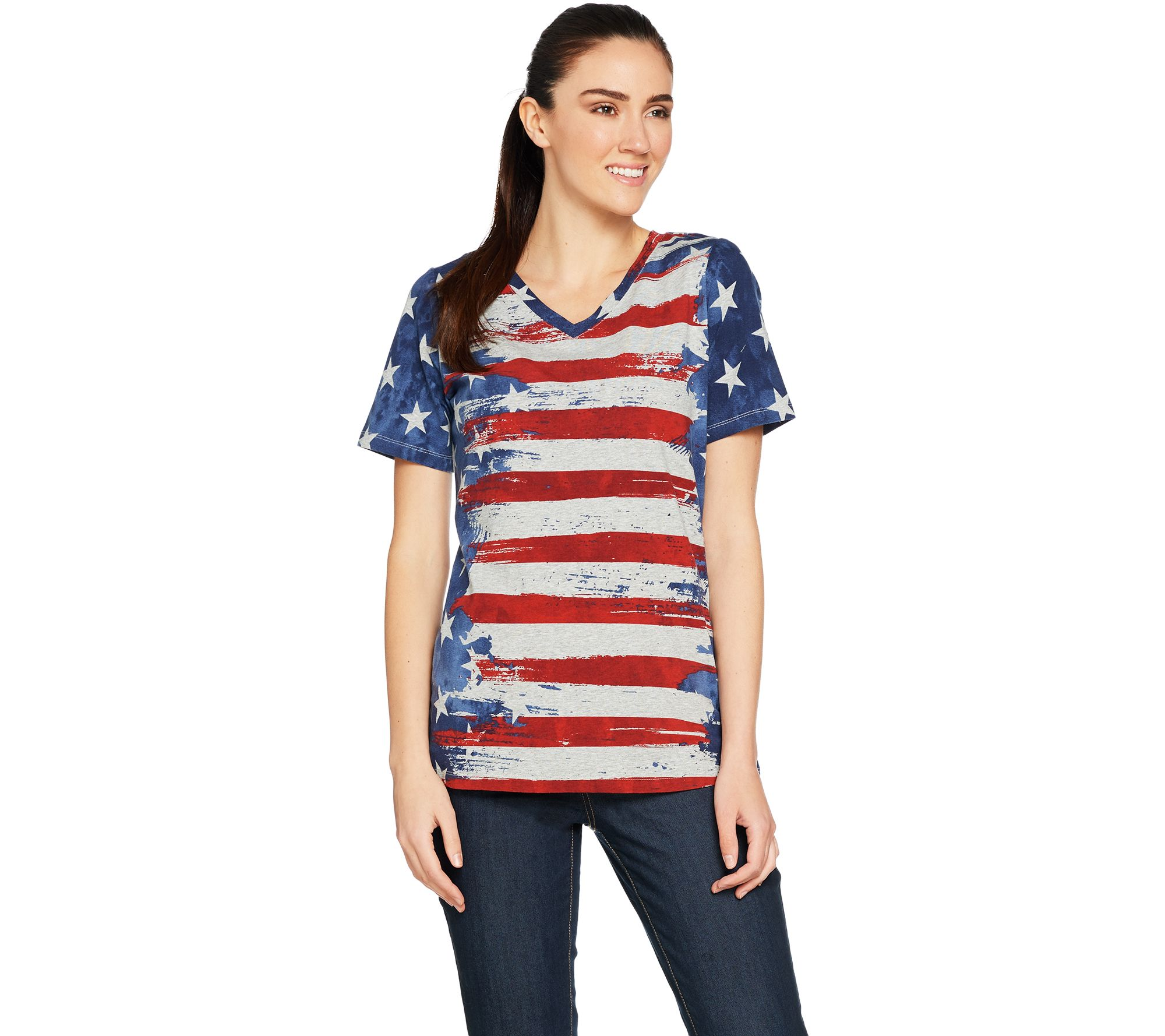 1ef84d785 Denim & Co. American Flag Print Short Sleeve V-Neck Top - Page 1 — QVC.com