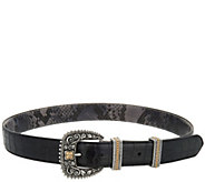 Barbara Bixby White Topaz Accent Reversible Leather Belt - A292847
