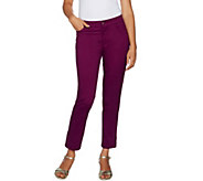 Isaac Mizrahi Live! Tall Brushed Sateen Fly Front Ankle Pants - A293947