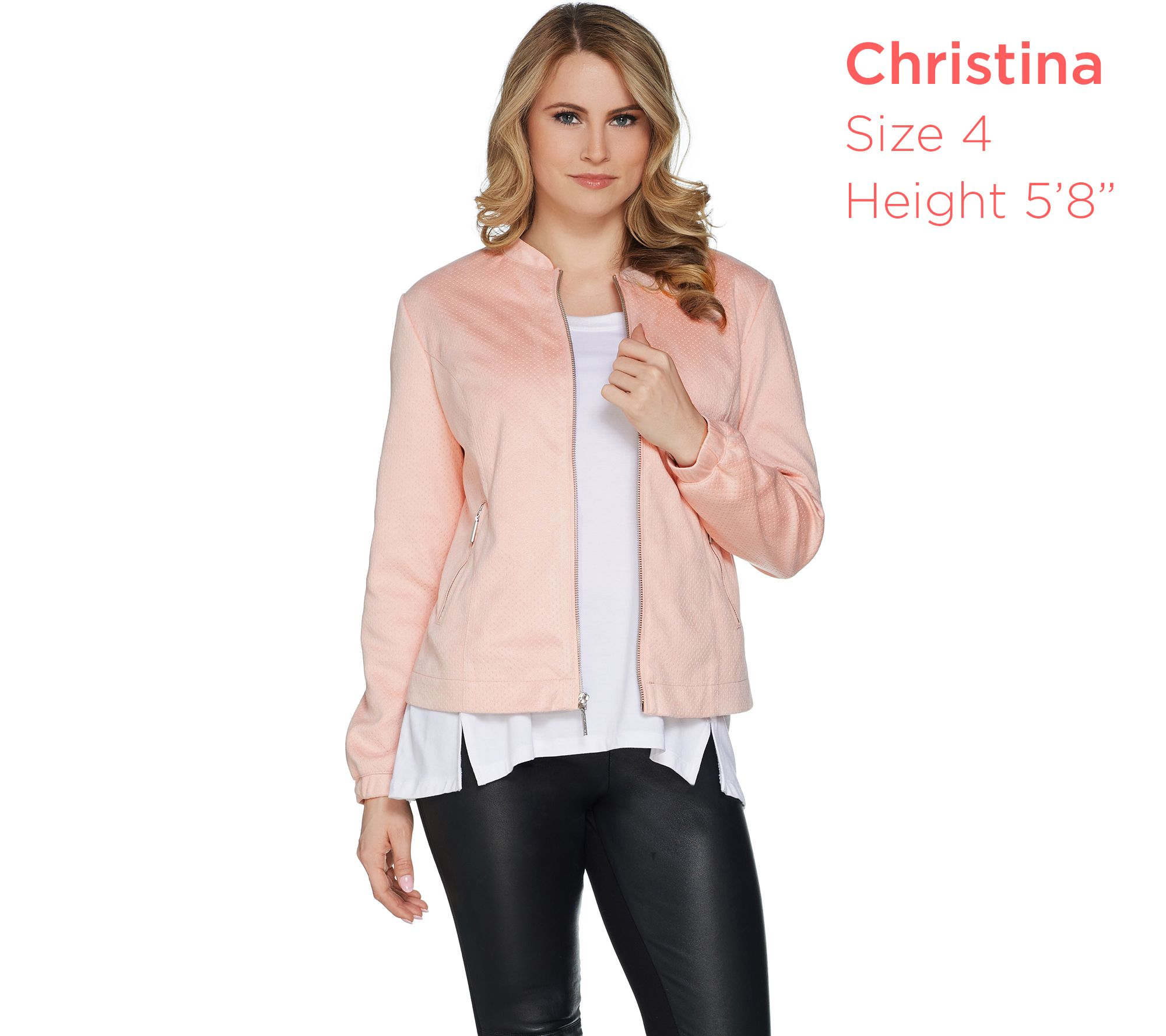 309fc7f5bec H by Halston Zip Front Faux Suede Bomber Jacket - Page 1 — QVC.com