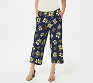 Susan Graver Printed Liquid Knit Pull-On Crop Pants - A302647