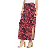 Susan Graver Regular Printed Liquid Knit Maxi Skirt - A303347