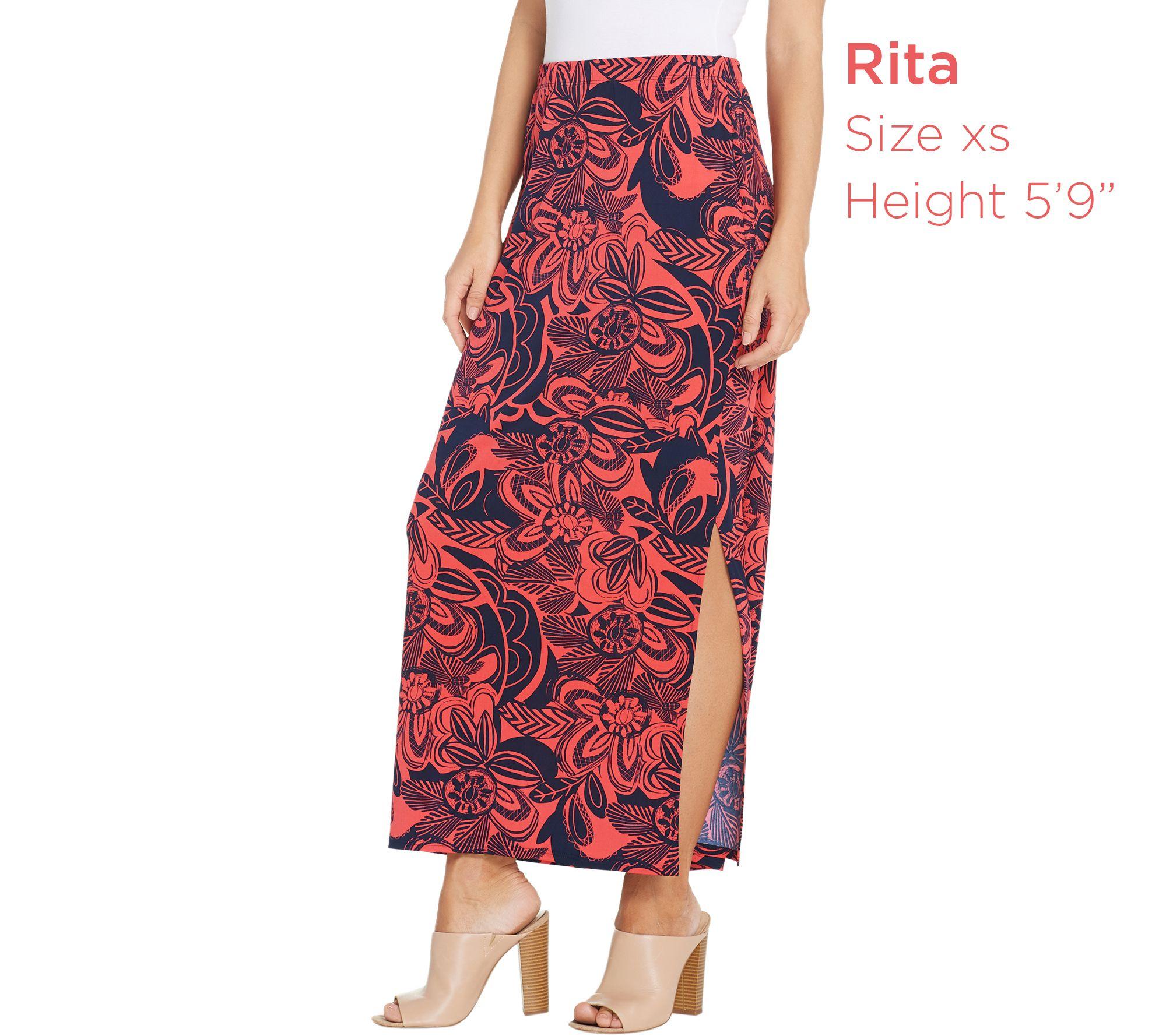 8faed3a510 Susan Graver Regular Printed Liquid Knit Maxi Skirt - Page 1 — QVC.com