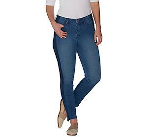 Martha Stewart Petite 5-Pocket Ankle Jeans w/Tuxedo Stripe