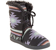MUK LUKS Julie Lace-Up Slipper Boots with Faux Fur Lining - A342647