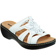 As Is Clarks Leather Light- weight Floral Detail Slides- Delana Venna - A347247