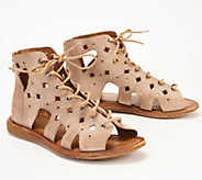 Miz Mooz Perforated Leather Lace-Up Sandals - Florence - A351247