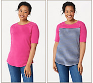 Quacker Factory Elbow-Sleeve Set of Two Knit Tops - A351347
