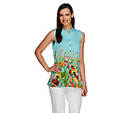 Susan Graver Liquid Knit Floral Printed Button Front Sleeveless Top - A254348
