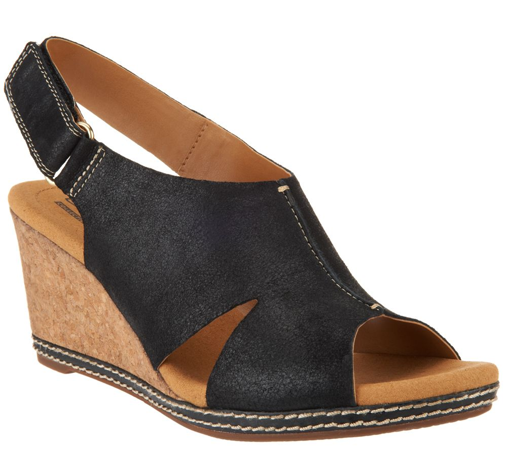 fdab832b4033 Clarks Nubuck Wedge Sandals with Backstrap - Helio Float - Page 1 — QVC.com