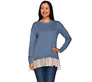 LOGO by Lori Goldstein Cotton Cashmere Sweater with Swiss Dot Trim - A267848