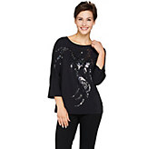 Bob Mackies Enchanted Avian Dolman Sleeve Knit Top - A283748