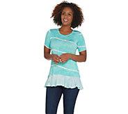LOGO by Lori Goldstein Tie Dye Printed Top with Ruffle Hem - A286948