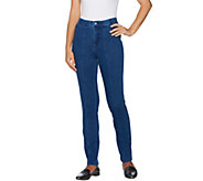 Isaac Mizrahi Live! Regular Knit Denim Slim Leg Jeans w/ Pocket - A293948