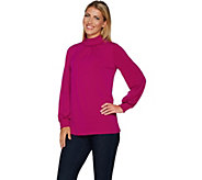 Every Day by Susan Graver Liquid Knit Long Sleeve Mock Neck Top - A294848