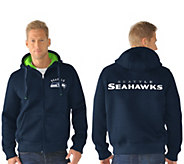 NFL Team Color Poly Knit with Sherpa Lining Zip Up Hoodie - A295848