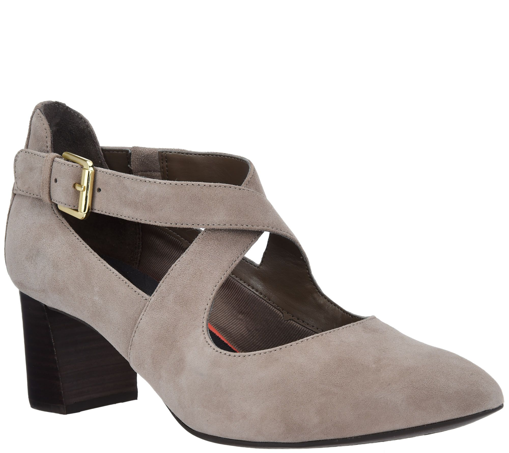 53823254951b Rockport Total Motion Suede Pumps w  Strap Detail - Salima Cross - Page 1 —  QVC.com