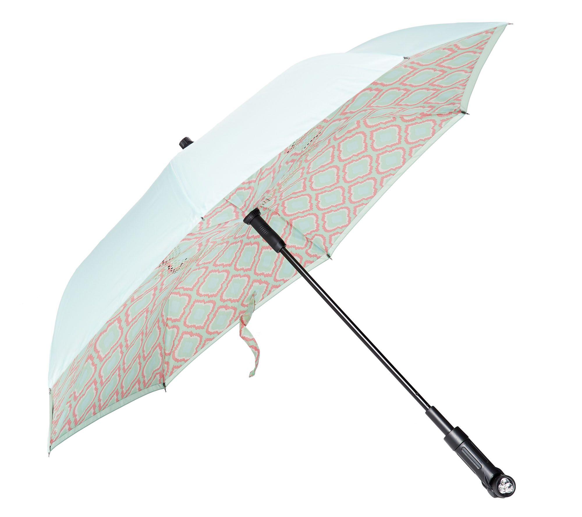 79c13b961aaa Revers-A-Brella Double Layer Inverted Automatic Open Umbrella w/ Lig —  QVC.com