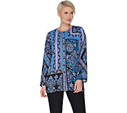 Bob Mackies Placement Print Button Front Woven Tunic - A302148
