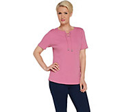 Denim & Co. Rib Lace-up Short Sleeve Top with Curved Hem - A307648